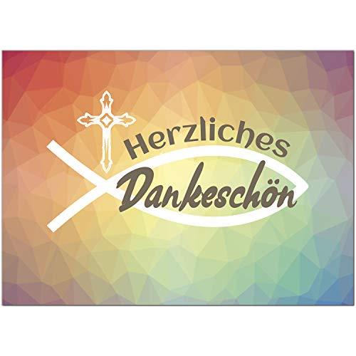 15 x Dankeskarten mit Umschlag - Moderner Verlauf Mosaik Fisch und Kreuz - Danksagung/Bedanken/Danke sagen zur Taufe, Kommunion, Konfirmation, kirchlich