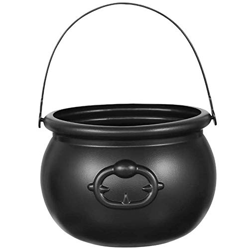 Black Cauldron Plastic - Large 8 inch | Witch Cauldron for Halloween Decoration, Party Supplies, Harry Potter, Witches Prop, Wizard, by 4E's Novelty