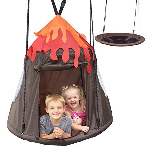 Hanging Tree Swing Tent Saucer Swing Fort Volcano Dinosaur Tree Pod for Kids Sensory Swings for Indoor or Outdoor Use with Detachable Play Tent Play House for Boys and Girls