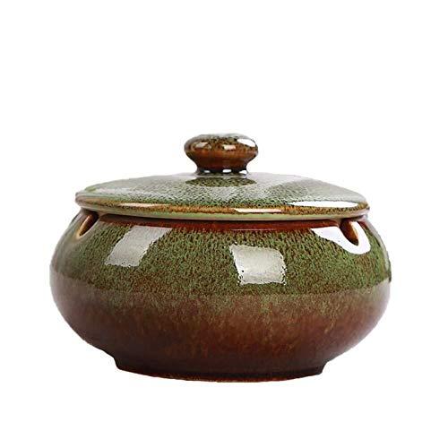 DANYIN Los ceniceros de cerámica Retro Cenicero Cenicero de cerámica con Tapa a Prueba de Viento de Ceniza Titular Cenicero for la Barra casera Office 11 * 8cm del Horno Cambio (Color : Green)