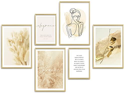 ARTFAVES® Poster Set - BEIGE Elegance | Wanddeko Wohnzimmer & Schlafzimmer | 6 Moderne Wandbilder | Bilder Pampasgras, line Art, Gold | ohne Bilderrahmen