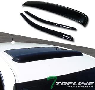 Topline Autopart Smoke Window Deflector Vent Shade Guard + Sunroof Moonroof Sun Moon Roof Visors 3 Pieces For 92-95 Honda Civic 2 Door Coupe / 3 Door Hatchback EG EG6