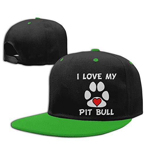 Boy & Girl Kids I Love My Pit Bull Paw Snapback Hats Adjustable Hip Hop Flat Brim Baseball Cap Casual Sports Cap Sombreros y Gorras