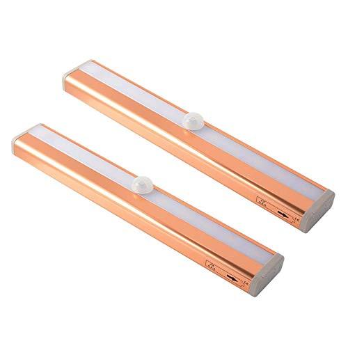 Luz LED para armario, luz con sensor de movimiento, luz debajo del armario con lámpara de inducción inalámbrica sin perforaciones alimentada por USB para cocina, armario, mesita de noche, dorado, tipo