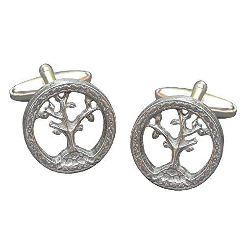 Luxury Fine Pewter Tree of Life Cufflinks, Handcast by William Sturt