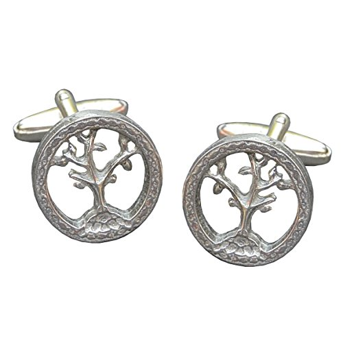 Luxury Fine Pewter Tree of Life Cufflinks, Handcast by William Sturt