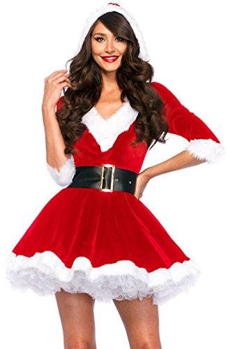Baymate Noël Mère Déguisement Femme Christmas V-Cou Robe Adulte Partie Costume Rouge (Robe+Ceinture)