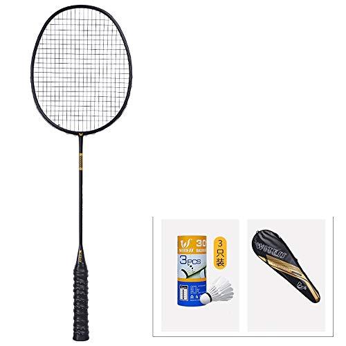 Rebily Full Carbon Ultra Light Badmintonschläger Einzel Zwei Loaded Trainingsschläger Competition Männer und Frauen Single Shot-Carbon-Faser (Color : Black, Größe : 1 Stick)