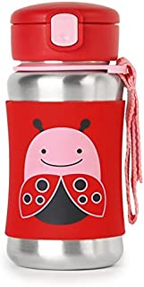 Skip Hop Zoo Stainless Steel Straw Bottle, Ladybug