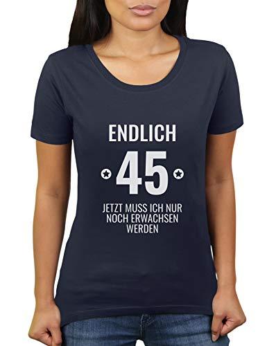 KaterLikoli, t-shirt da donna con scritta in lingua tedesca Navy francese L