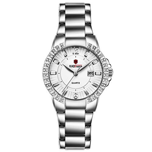 Reloj De Cuarzo, Reloj Femenino De Temperamento, Calendario Retro Clásico Reloj Impermeable con Cinturón De Acero Inoxidable 220mm S01
