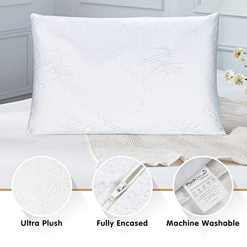 Premium Bamboo Standard Pillow Protector Covers - Waterproof Proof Zippered Protectors - Pillowcase Zipper Cover Case Pack for Sleep Pillows - Set of 2