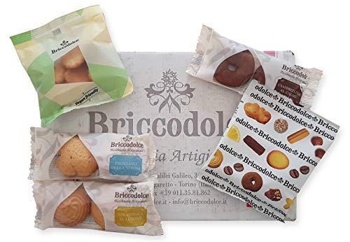 Briccodolce - Biscotti Monoporzione Assortiti, 5 Varietà in 50 Pacchetti Monodose da 30 grammi. Confezionati in Pacco Resistente agli Urti.