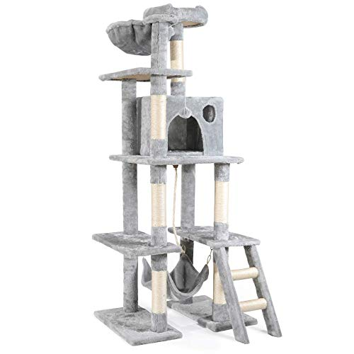 rabbitgoo Cat Tree Cat Tower 61-inch Multi-Level Kitten House Condo with Scratching Posts & Hammock, Large Cat Stand Furniture Climbing Play House Center with Plush Perch for Indoor Activity Relaxing