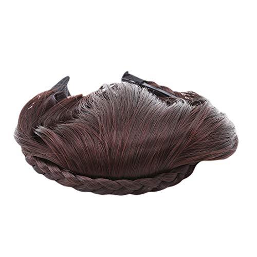 VWH Courte Tresse Blunt Bangs Naturel Rangée Hairpieces Perruque Synthétique Résistante à la Chaleur Styling Outils Accessoires (Brun foncé)