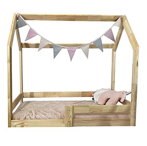 NeedSleep Hubi - Cama infantil de madera (80 x 160 cm), con protección anticaídas y somier de láminas, diseño escandinavo, para niñas y niños