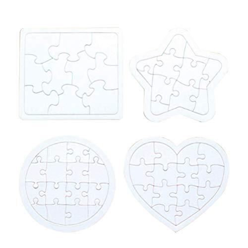 TOYMYTOY 4pcs Rompecabezas en blanco DIY Puzzle de papel Dibujo Doodle Board (Blanco)