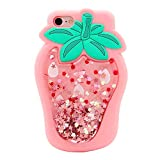 Artbling Case for iPhone 6/ 6S 4.7' Silicone 3D Cartoon Quicksand Fruit Cover,Kids Girls Cool Cute Cases,Bling Kawaii Soft Gel Rubber Glitter Character Funny Vivid Color Skin for iPhone6 Strawberry