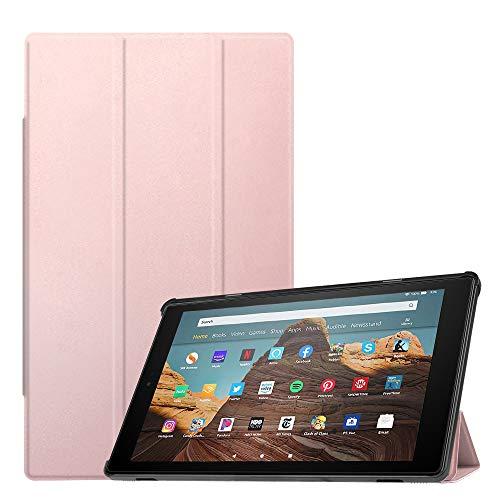Fintie Hülle für Das Neue Amazon Fire HD 10 Tablet (9. & 7. Generation - 2019 & 2017) - Slim Cover Lightweight Schutzhülle Tasche mit Standfunktion & Auto Schlaf/Wach Funktion, Roségold