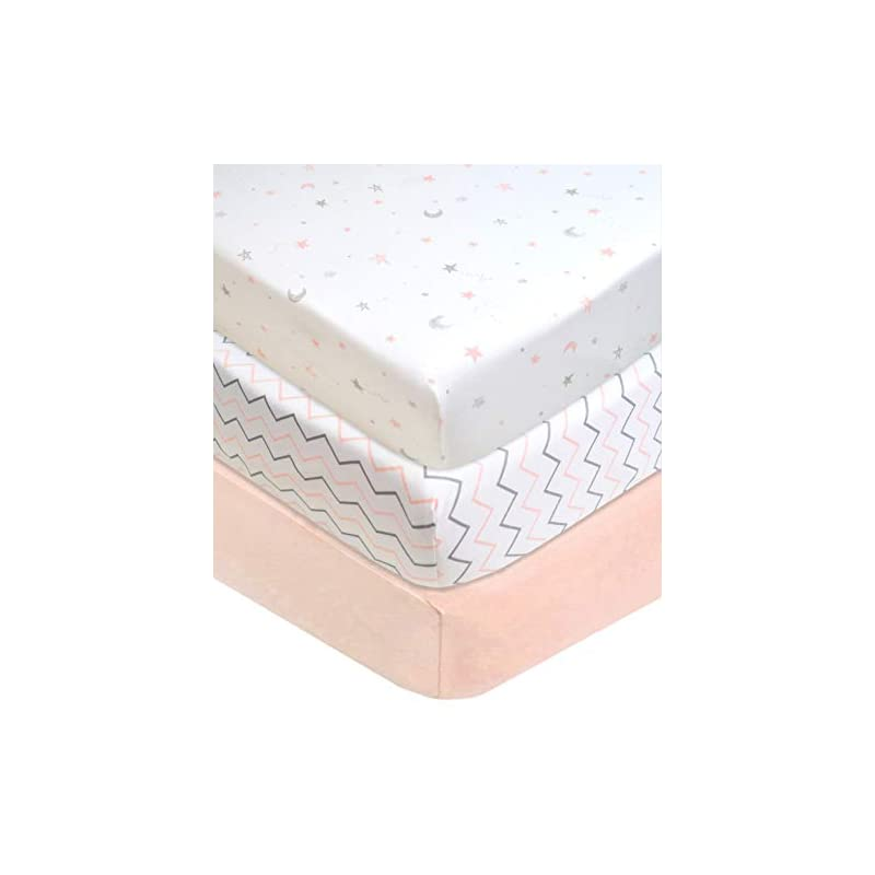"""crib bedding and baby bedding american baby company 100% natural cotton value jersey knit fitted portable/mini-crib sheet, pink star/zigzag, 24"""" x 38"""" x 5"""", soft breathable, for girls, pack of 3"""