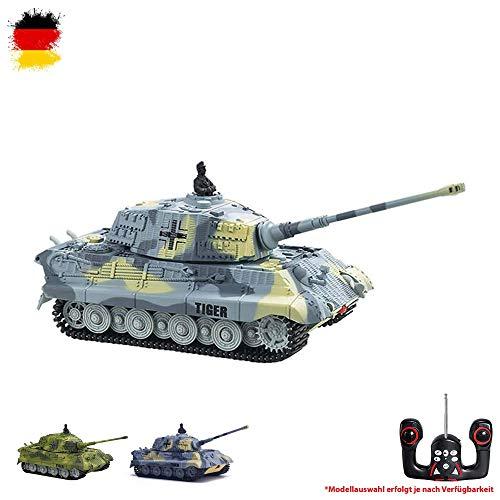 HSP Himoto German Königstiger - RC R/C Mini Ferngesteuerter Panzer Kingtiger Tiger II Tank, Schuss-, Sound- und Lichtsimulation, 1:72 Maßstab, Komplett-Set
