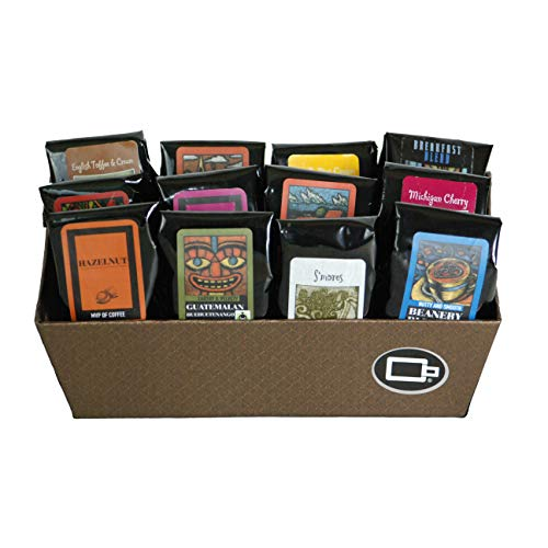 Indulgent Coffee Selection Gift Box | 100% Specialty Arabica Coffee | 12 Flavored 1.75oz Try-Me-Size one pot coffee samplers