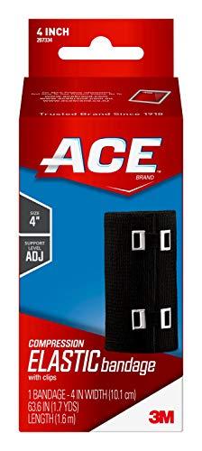 ACE - 207334 4' Elastic Bandage Wrap with Clips, Black