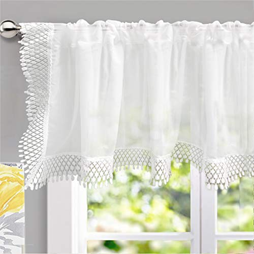 DriftAway Ava Voile Sheer Curtain Valance with Lace and Crochet Trim Soft White Voile Chiffon Plain Sheer Window Valance Curtain Panel for Small Window and Kitchen Single 60 Inch by 18 Inch Off White