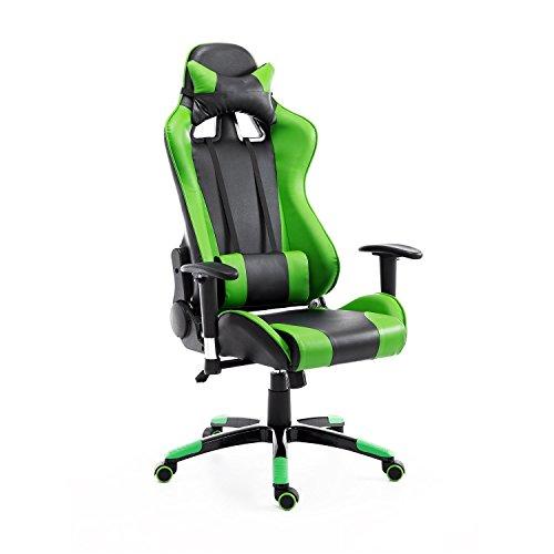 HOMCOM Silla de Oficina Juvenil Silla para Juegos de PC Ergonomica Reclinable con Respaldo Alto Acolchada Cuero PU (Verde)