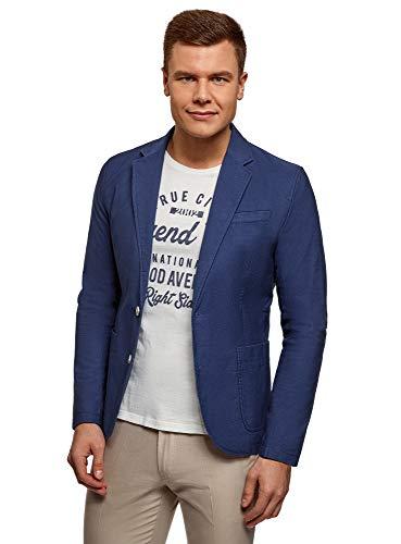 oodji Ultra Herren Taillierter Sakko mit Ellenbogenpatches, Blau, 50