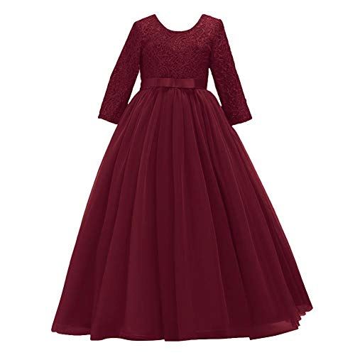 Flower Girls 3/4 Sleeve Flower Lace Tulle Pageant Prom Ball Gown Floor Length Bridesmaid Embroidered Wedding Party First Communion Princess Dress Formal Dance Evening Long Maxi Dress Burgundy 9-10
