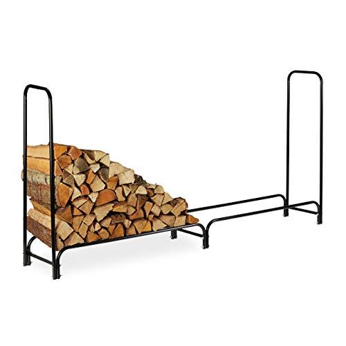 Relaxdays 10026087_961 Etagère de cheminée, très Large, sans Housse, Support de bûches en métal, HlP 122 x 245 x 40 cm, Noire, Acier