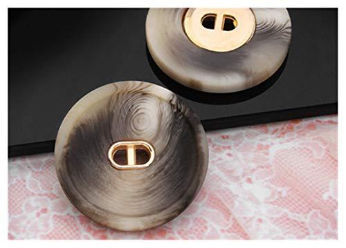 Knoppen 6 stks 18-30mm High-end grote hars textuur knop dames kleding jas windjack decoratieve knop accessoires (Farbe: Beige, Maat: 20MM)