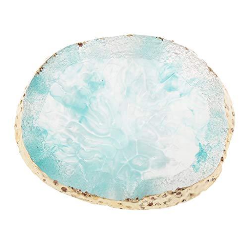 Fenteer Kunstharz Achat Nailart Palette Nailart Pigment Farbmischpalette, Kosmetik Gel Creme Mischwerkzeug - Blau, 97 x 85 x 10 mm