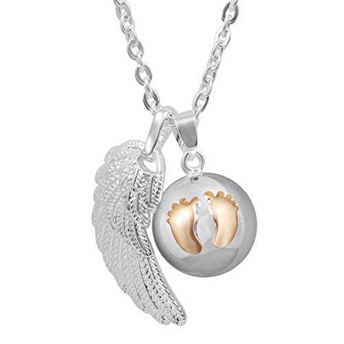 AEONSLOVE Llamador de Angeles Embarazada, Colgantes Alas de ángel Huella Mujer Carillón Música Cadena Collar Música Timbre Bell Bola Mujeres Joyas Niñas Damas Madres y Hermanas