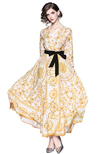 LAI MENG FIVE CATS Women's V Neck Baroque Print Big Swing Maxi Dress with Belt for Party,Evening White