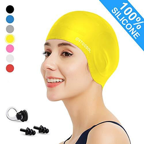 arteesol Badekappe - Silikon Badekappen Badehüte Anti-Rutsch wasserdichte Badekappe für Lange Haare Frauen und Männer (Gelb)