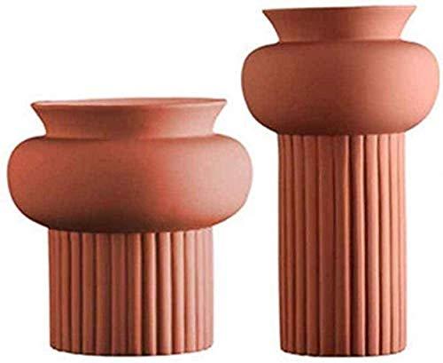 cvhtroe Jarrón mesa de centro de cerámica rojo tamaño flor arreglo falso flor seca restaurante sala dormitorio planta flor 2 piezas decoraciones
