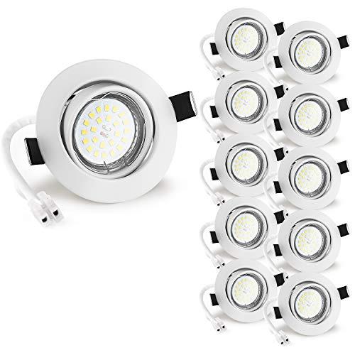 Wowatt 10 x ojos buey blanco 6W Equivalente a Lámpara Halogeno 50W Foco Empotrable Blanco Cálido 2800K Incluye Bombilla GU10 600Lm 83Ra Luz de Techo Interior 220V Marco Redondo Ángulo de visión 120°