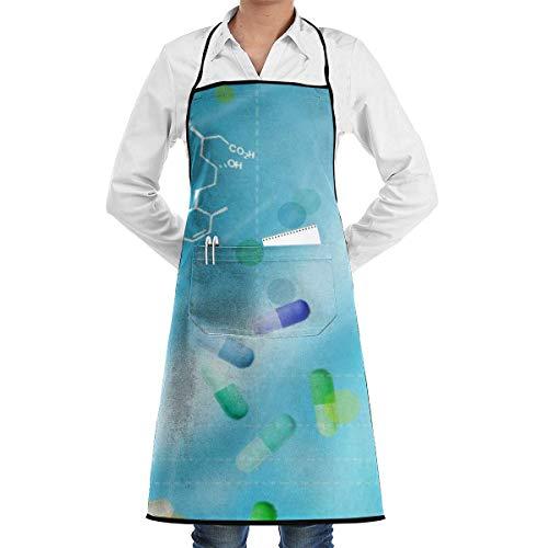 Küchenchef Lätzchen Schürze Medizin Muster Hals Taille Krawatte Center Tasche wasserdicht-KIK-040