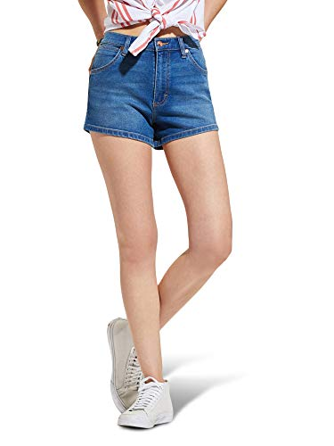 Wrangler Women's Misses High Rise Stretch Denim Shorts, Throwback Blue, 28