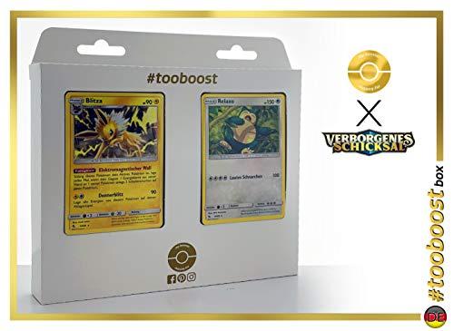 Blitza 23/68 & Relaxo 50/68 - #tooboost X Sonne & Mond 11.5 Verborgenes Schicksal - Box mit 10 Deutsche Pokémon-Karten