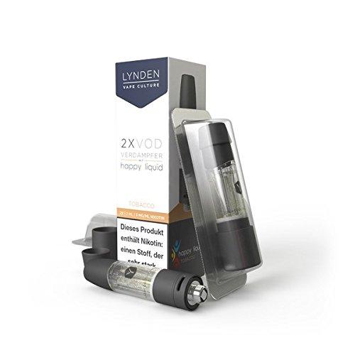 2x Lynden VOD Tank vorgefüllt mit Happy Liquids-Lynden Natural Tobacco u.a. 0mg Nikotin-510er Gewinde (Happy Liquid-Tobacco)
