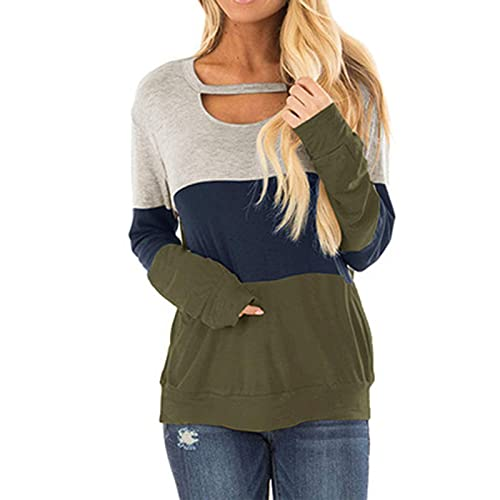 Jamicy Camiseta de manga larga para mujer, con estampado de color, túnica, hueco, cuello redondo, informal, holgada, sexy, cómoda, de manga larga, verde, XXL