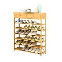 HLL 靴掛け、木製の多層収納棚小さな本棚の床立位の大容量 - 2引き出し,6層,L-70Cm
