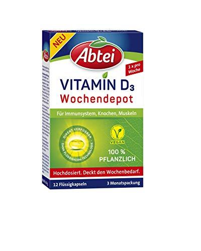 Abtei Vitamin D3 Pflanzlich Wochendepot, 100 Prozent pflanzlich, auch für Veganer geeignet, 3 Monatspackung, 12 Flüssigkapseln