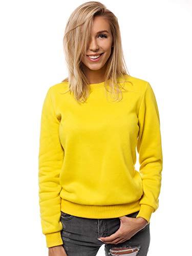 OZONEE Damen Sweatshirt Pullover Langarm Farbvarianten Langarmshirt Pulli ohne Kapuze Baumwolle Baumwollmischung Classic Basic Rundhals-Ausschnitt Sport JS/W01 GELB M