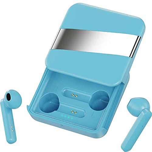 Wolfberrymetal Auriculares, Auriculares Deportivos inalámbricos 5.0 Auriculares Semi-in-Ear táctiles estéreo de música a Prueba de Agua con micrófono de Soporte de Caja de Carga (Azul)