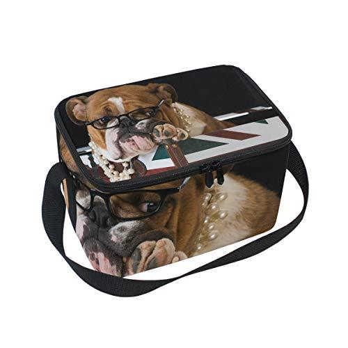 Lunch Bag Leuke Dier Engels Bulldog Vlag Koeler voor Picnic Schouderband Lunchbox