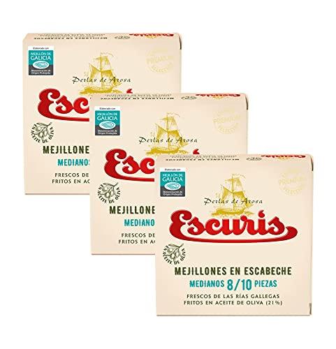 Mejillones en Escabeche Medianos 8/10 piezas, frescos y fritos en aceite de oliva en pack de 3 latas con formato RO-120 y peso neto 111gr. (c/u)